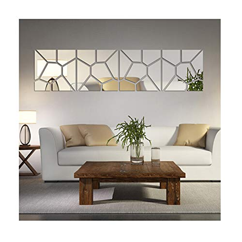 Multi-Pieces=4 Squares Modern Design DIY Mirror Effect Wall Stickers Bedroom Living Room Wall Decor Art Self Adhesive Mirrored Stickers Mural Home Decoration