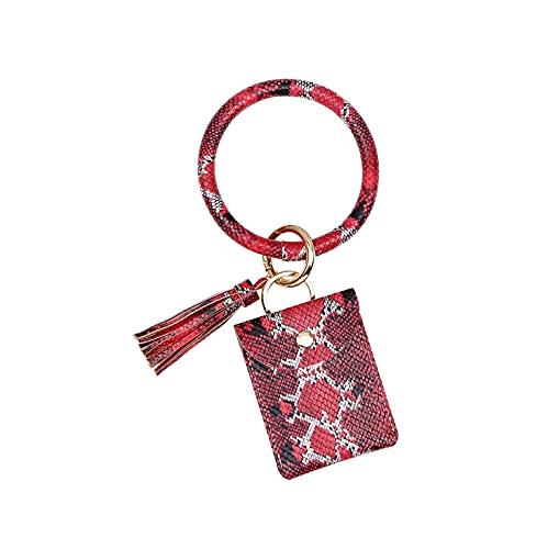 Caja de tarjeta con patrón de serpiente llavero de muñeca monedero con patrón de cuero de PU pulsera pulsera colgante 19 * 7cm49g