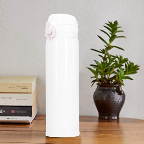 Botella de agua aislada de acero inoxidable de 500 ml, frascos de vacío portátiles, taza termo con tapa de salto para oficina, viajes, uso en automóvil(blanco)