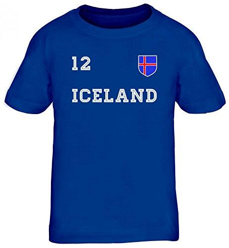 Iceland Fußball WM Fanfest Gruppen Kinder T-Shirt Rundhals Mädchen Jungen Trikot Island, Größe: 134/146,Royal Blau