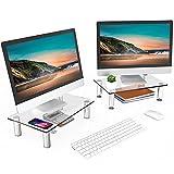 FITUEYES Cristal Dual Soportes de Monitor de Portátil Elevador de Monitor Claro DT103803GC
