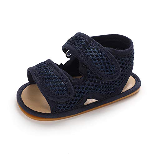 Baby Sandalen Junge Mädchen Sommer Baby Schuhe Babyschuhe Flach Anti-Rutsch Dunkelblau 12-18 Monate (130)