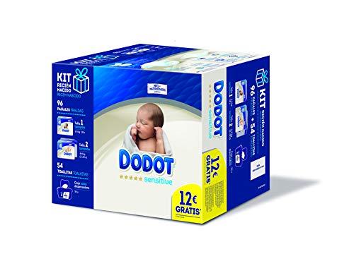 Dodot Sensitive Pañales Talla 1, 28 pañales, 2-5kg + Pañales Talla 2, 68 pañales, 4-8 kg + Dodot Sensitive Toallitas con caja dispensadora, 54 toallitas