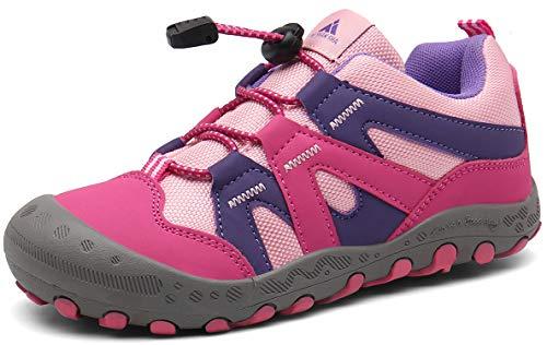 Trekkingschuhe für Kinder Wanderschuhe Jungen Mädchen Mit Schnellverschluss Atmungsaktive Schuhe rutschfest Laufschuhe für Outdoor,Rosa1,24 EU