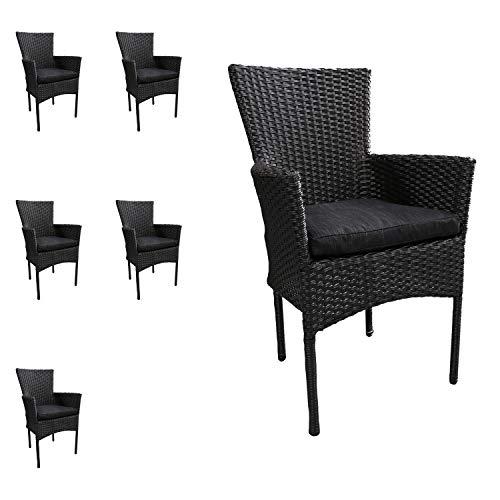 Mojawo 6 stuks mooie rotan stoel stapelbaar rieten tuinstoel zwart stapelstoel met stoelkussen