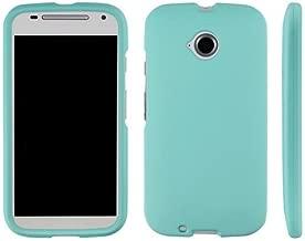 Aqua Mint Teal Protective Protex Hard Snap-On Rubberized Cover Case + Atom LED Keychain Flashlight for Motorola Moto E 2nd Gen (3G / 4G LTE)