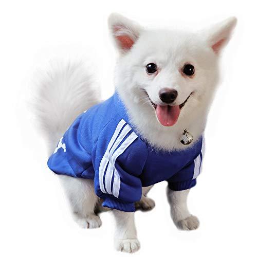 Eastlion Adidog Hund Pullover Welpen-T-Shirt Warm Pullover Mantel Pet Kleidung Bekleidung, Saphirblau, Gr. XL