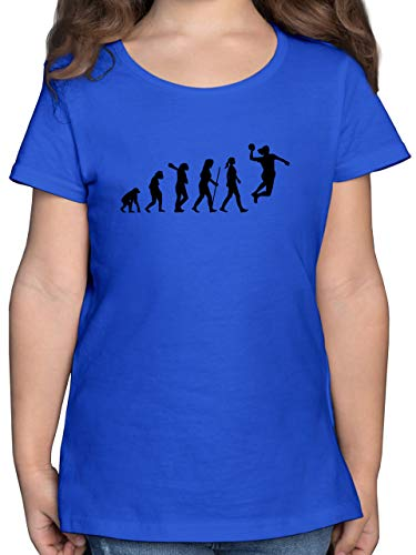 Evolution Kind - Handball Evolution Damen - 164 (14/15 Jahre) - Royalblau - Evolution Handball mädchen - F131K - Mädchen Kinder T-Shirt