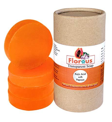 Florous Kojic Acid,Papaya, Orange Peel Transparent Soap (4 x 75 gm, 300 gm)