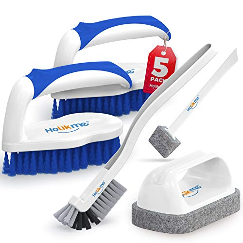 Holikme 5 pack Deep Clean Brush Set,Scrub Brush&Grout and Corner brush&Scrub pads with Scraper Tip&Scouring pads,for bathroom,Floor, Tub, Shower, Tile, Bathroom and Kitchen Surface(Blue)