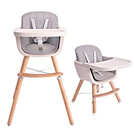 Tiny Dreny Convertible Baby High Chair | 3 in 1 Wooden High Chair with Detachable Cushion | Ultimate Security | Easy Assembly | Baby Highchair with Adjustable Tray | Grow Together with Family