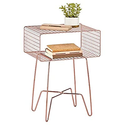 mDesign Modern Farmhouse Side/End Table - Metal Grid Design - Open Storage Shelf Basket, Hairpin Legs - Vintage, Rustic, Industrial Home Decor Accent Furniture for Living Room, Bedroom - Rose Gold