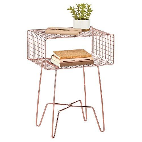 mDesign Mesita auxiliar de metal pequeña – Elegante mesa auxiliar vintage para el salón o el dormitorio – Mesa de centro con moderno diseño de horquilla – dorado rojizo