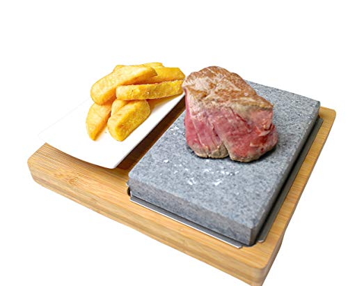 Black Rock Grill Lava Stone Grill Steak Set, Hot Cooking Rock Grill