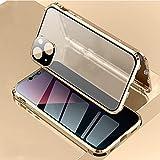 HHZY Funda Anti-Spy Magnética para iPhone 13 Mini/13/13 Pro/13 Pro MAX Carcasa Anti Espía Adsorción Magnética Protector de Lente de Cámara Cristal Templado Anti Separado Cover,Oro,For 13 Pro