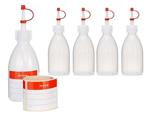 Octopus 5 x 100 ml Quetschflaschen, Spritzflaschen aus LDPE mit Tropfverschluss, Garnierflaschen, Dekorationsflasche für Küche, Hobby oder Labor