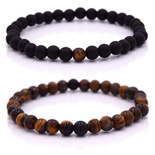 Armband Männer mit Perlen, Herren Armband, Perlenarmband in verschiedenen Farben (Schwarz - Braun)