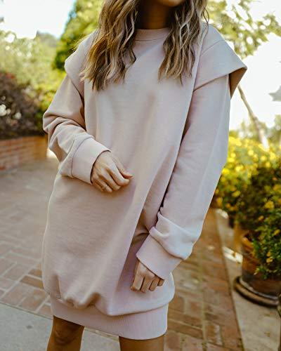 The Drop Sweatshirt-Kleid, Damen, Altrosa, Power-Schulter, Übergröße, von @spreadfashion, XS