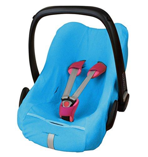 ByBoom® - badstof zomerhoes, beschermhoes voor babyschaal, autostoel, bijv. Maxi Cosi CabrioFix, City, Pebble; Ontworpen in Duitsland, MADE IN EU, Kleur: Blauw