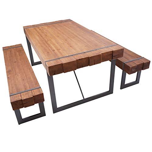 Mendler Esszimmergarnitur HWC-A15, Esstisch + 2X Sitzbank, Tanne Holz rustikal massiv - braun 160cm
