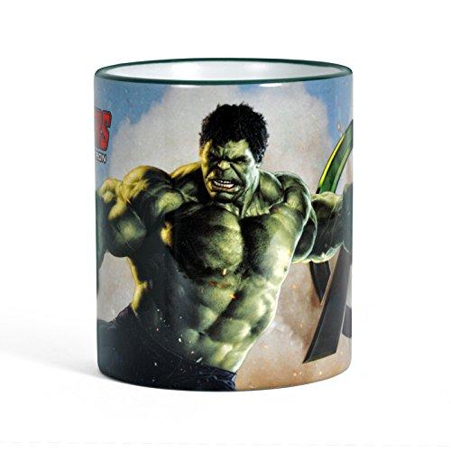 Elbenwald Avengers Age of Ultron Tasse Kaffeebecher Hulk Motiv umlaufend Bedruckt, Farbiger Rand und Henkel lizenziert 300ml
