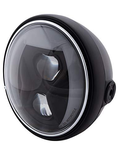 HIGHSIDER 7 Zoll Motorrad LED Scheinwerfer Santa Fe Typ 8, E-geprüft (Schwarz)