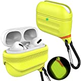 HALLEAST Airpods Pro Waterproof Case Wireless Charging Front LED Visible Protective Cover with Keychain Compatible Apple Airpods Pro 2019, Night Glow Yellow
