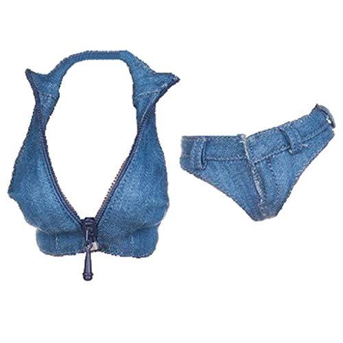 1/6 Shorts + Weste Puppenzubehör Bekleidung für 12-Zoll-Hot Toys-, Phicen-, Kumik-, Jodoll-, JO-, CY-Frauenfiguren - Blau, 1: 6