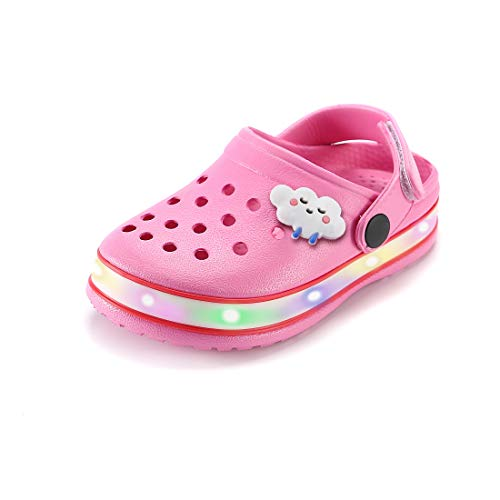 VIYEAR Kinder Jungen Mädchen LED Clogs Süße leichte Sommer Hausschuhe Garden Beach Sandalen, 29 EU, Pink