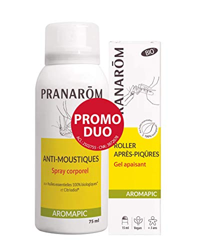Pranarôm   Aromapic   Promo Spray Corporel Anti-Moustiques + Roller Après-Piqûres Bio (Eco)   Aux Huiles Essentielles Biologiques