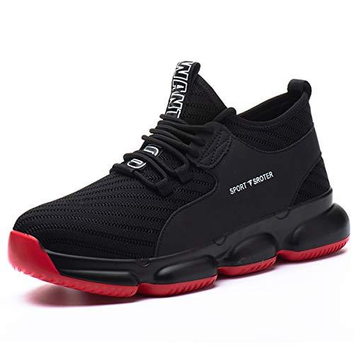 SROTER Zapatos de Seguridad para Hombre Mujer Puntas de Acero Antideslizantes Transpirables Anti-Piercing Zapatos de Trabajo Rojo EU43 ⭐