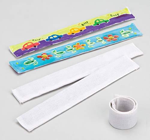 Baker Ross Bastelset - Schnapparmbänder aus Stoff für Kinder zum Bemalen - toll für den Kindergeburtstag - 5 Stück