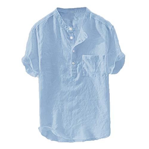 Herren Leinenhemd Männer Henley Freizeithemd Sommer Hemd Regular Fit Shirt,Hemd Kurzarm Shirt Sommer für Strand Freizeit Übergroße Größe (Blau, 6XL)