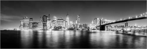 Posterlounge Acrylglasbild 90 x 30 cm: New York Skyline by Night (schwarz weiß) von Sascha Kilmer - Wandbild, Acryl Glasbild, Druck auf Acryl Glas Bild