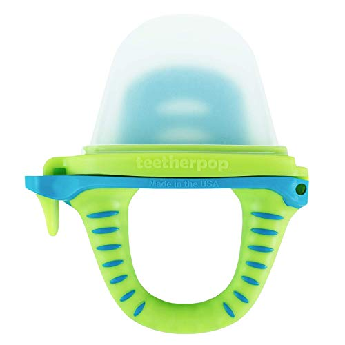 teetherpop - Fillable, Freezable Baby Teether for Breastmilk, Purées, Water, Smoothies, Juice & More (Baby Teether is USA Made & BPA Free) (LimonTeal)