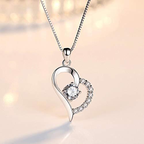 Bluesteer Joyería de Plata de Ley 925 para Mujer, Collar con Colgante de corazón de circonita de Cristal púrpura, Longitud 45 CM, 295