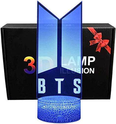 BTSLuz de Noche LED Ilusión 3D Lámpara de Mesa de Cabecera 16 colores Cambiando con el Botón de Tacto Inteligente Iluminación decoración Dormir Lámpara, Regalos Perfectos para Niños