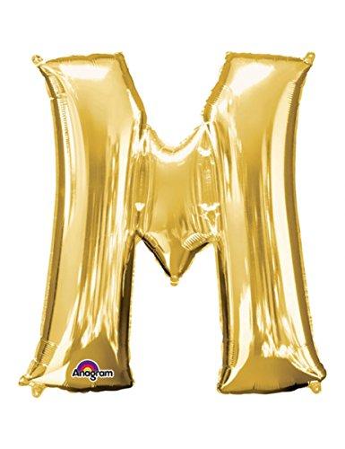 PartyDeco- Globo Mylar en Forma de Letra M Oro 35 cm cumpleaños Adulto niño Color FB2M-M-019