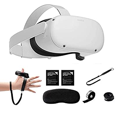 Oculus Quest 2 - Advanced All-in-One Virtual Reality Gaming Headset — 64GB Family Christmas Holiday, Bundle with Knuckle Strap & Wrist Strap & VR Lens Protect Cover Accessories