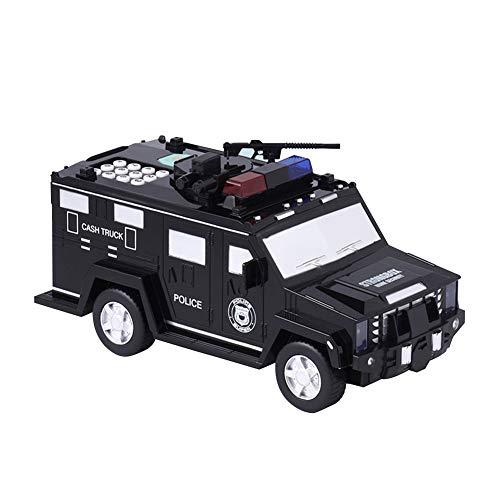 DYSD laden/accu zwart pantserwagen Piggy bank met muziek en licht cool voor kinderen Piggy Bank en jongeren