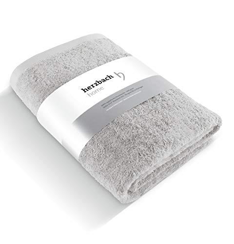 herzbach home Handtuch Badetuch Premium Qualität aus 100{9fb0233a8b9338f93a8d303a9bc434c04573b2a5e4d81851b878c86e51414217} ägyptischer Baumwolle 100 x 150 cm 600 g/m² extra weich (Silbergrau)