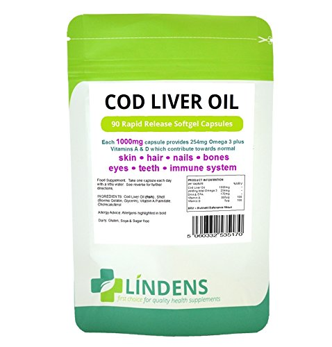 Lindens Cod Liver Oil 1000mg 3-Pack 270 Capsules with Vitamin A & D Best Quality