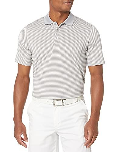 Cutter & Buck Men's Moisture Wicking UPF 50 Drytec Forge Tonal Stripe Polo Shirt, Polished, Large