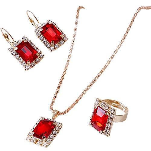 Lnrueg Collar De Encanto Moda Rhinestone Elegante Colgante Collar con Pendientes Y Anillo Party Personalized Lady Midi Crystal