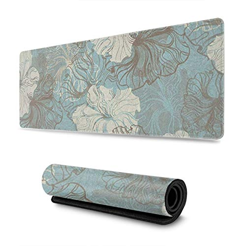 FPSMOUPD Mouse Pad Gaming Large Blue Grace Floral Extended Mouse Pad with Stitched Edges Non-Slip Rubber Base 31.5' x 11.8' x 0.12'