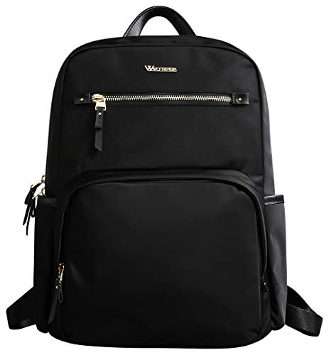 Wolfrealm Laptop Backpack Purse for Women Fashion Business Travel Shoulder Bag,Black fit 14.1 inches