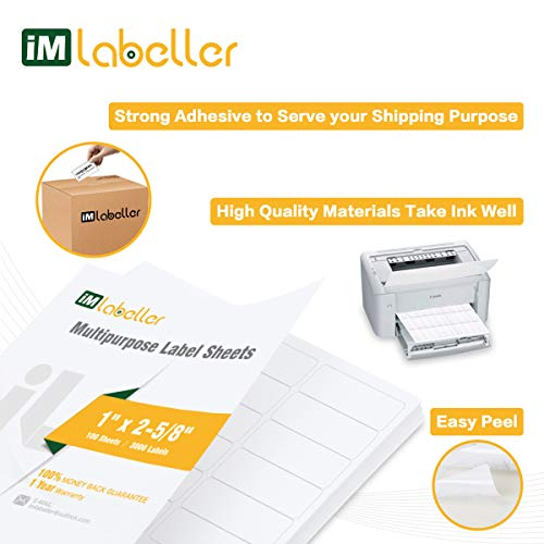 "iMlabeller 30 UP Labels 1"" X 2-5/8"" FBA Labels for Amazon Product SKU Inkjet and Laser Printer Mailing Labels, 100 Sheets for 3000 Stickers Photo #2"