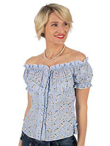 Krüger Dirndl - Camicia per Costume Tradizionale Bavarese, Colore: Blu Blu 38