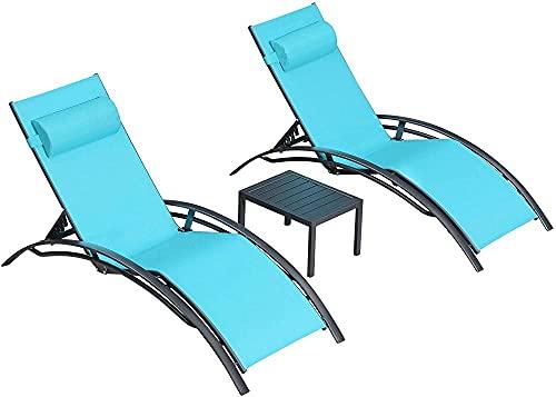 Sun Lounger Garden Lounger Chaise Longue Conjuntos para terraza CHAINT Jardín Deck Piscina-Azul Claro