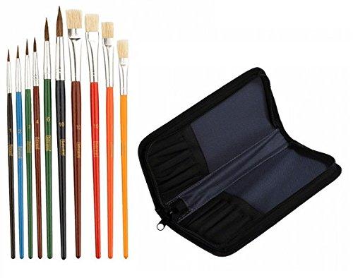 Idena 626052 Schulmalpinsel-Set 10 teilig (Pinsel + Tasche)